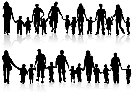 large set of silhouettes of parents with children holding hands