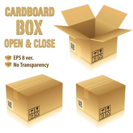 Open en gesloten kartonnen dozen met pictogrammen, vector illustratie