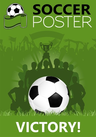 Soccer Poster with Winning Team with the Cup in his hands, illustration