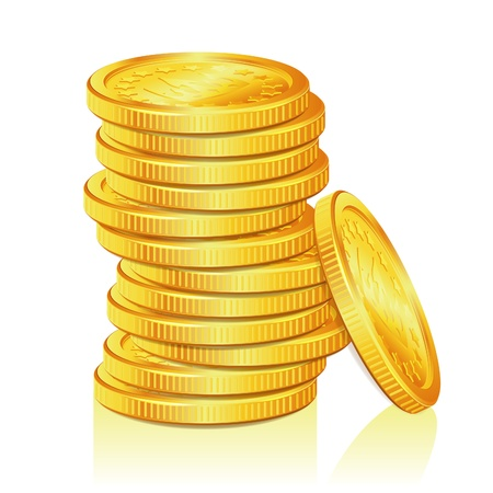 Concept Success in Business with Stack of Gold Coins, isolated on white background, vector illustration
