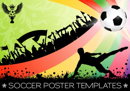 Soccer Poster with Ball on Grunge Background, Silhouette Fans and Floral