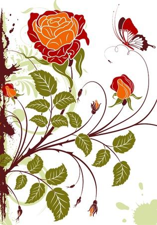Grunge floral frame avec papillon, élément pour la conception, illustration vectorielle