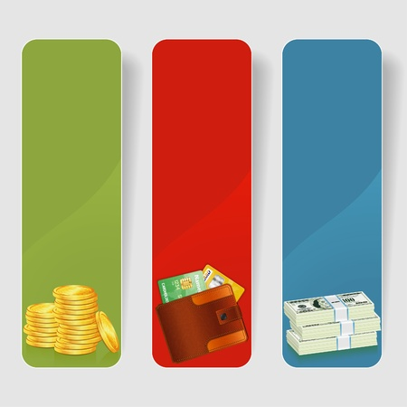 Three Business Frame with Stack of Dollar, Gold Coins and Leather Wallet with Credit Cards, vector