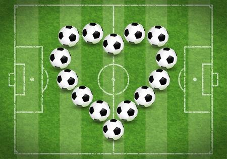 Voetbalveld met Hart van ballen, vector illustratie