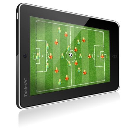 Tablet PC z boiska piłkarskiego z zaznaczeniem, ikona piłkarz i piłka, ilustracji wektorowych Ilustracje wektorowe