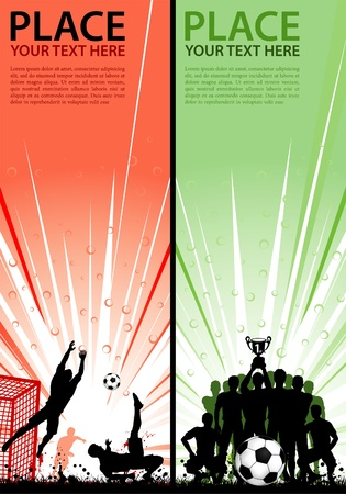 Set Sport Flyers with Soccer Players, Goalkeeper and Team with Cup