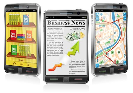 Collect Smartphones with Applications - Business Newsletter, Books, GPS Navigation Stock Vector - 13934489