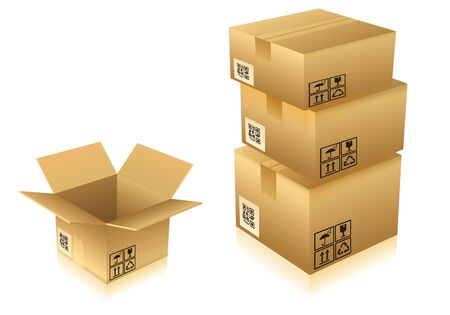 Open and Closed Cardboard Boxes with Icons