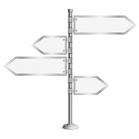 Pole mit Blank Road Signs, Konzept Entscheidung Wahl, isoliert auf weißem Hintergrund