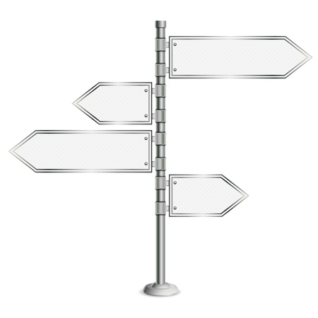Pole with Blank Road Signs, concept decision choice, isolated on white background