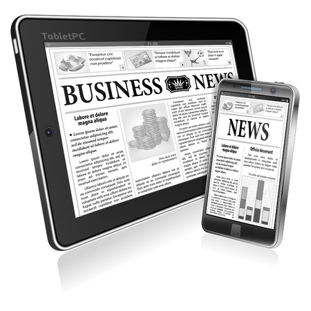 Digital News Concept with Business Newspaper on screen Tablet PC and Smartphone,