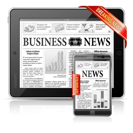 Breaking News Concept met Business Newspaper on Screen Tablet PC en Smartphone met updates, vector