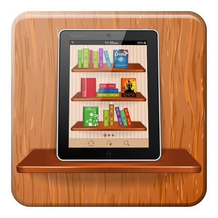 Demande de lecture Livres sur l'ordinateur tablette sur Bookshelf, illustration vectorielle