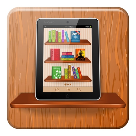 Reading Books Application on Tablet Computer on Bookshelf, vector illustration