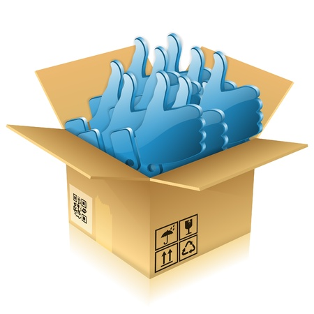 Open Cardboard Box with Like icons, isolated on white, vector illustration Stock Vector - 15326738