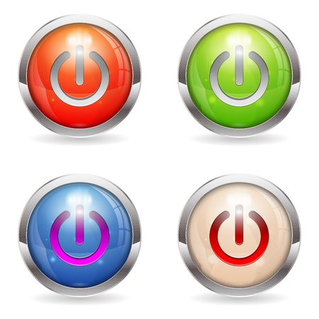 Set three dimensional round button with Switch icon, vector illustration