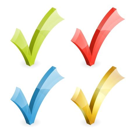 Impostare segni di spunta trasparente vari colori, cambiano colore facile, isolato su bianco, illustrazione vettoriale