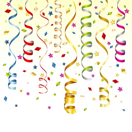 Birthday Background with Streamer and Confetti, vector illustration