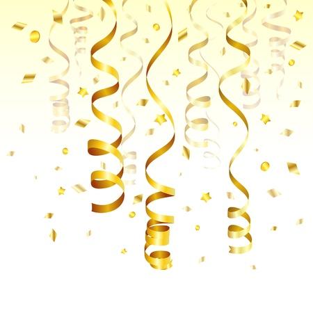 Verjaardag Achtergrond met gouden Streamer en Confetti, vector illustration Vector Illustratie