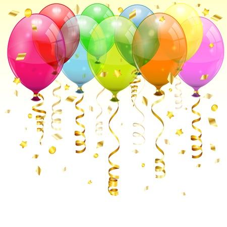 Contexte d'anniversaire avec 3D Ballons d'anniversaire transparents et banderoles, changent de couleur facile, vecteur Vecteurs