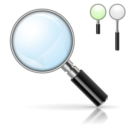 3D Realistic Magnifying Glass (Loupe) with Options Color and Size, isolated on white background Vetores