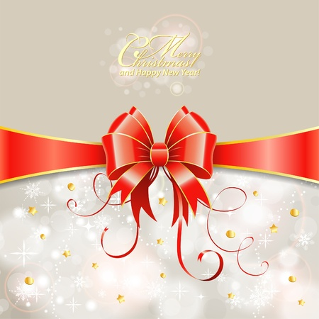 Christmas Greeting Card with Ribbon and Bow Stock Vector - 15912721