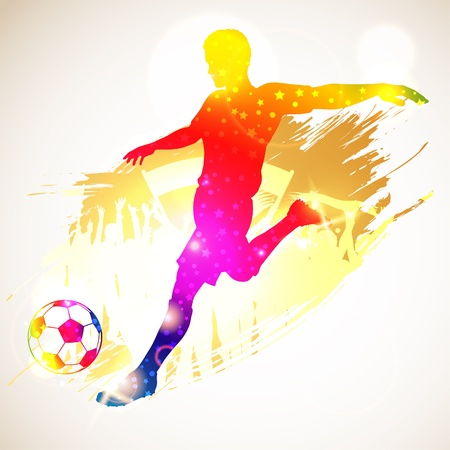 Silhouette Soccer Player and Fans on grunge background