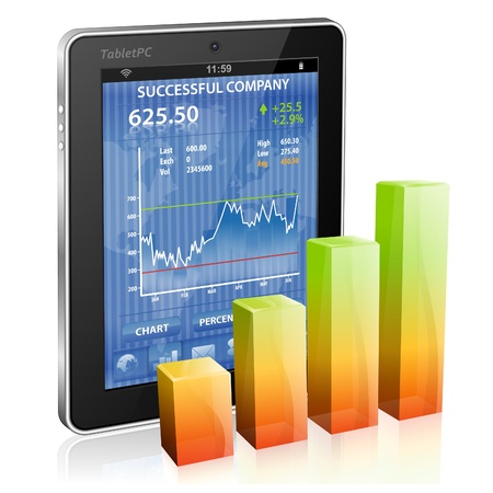 Financial Concept Make Money on the Internet with Tablet PC (Stock Market Application) and Graph, icon isolated on white, vector