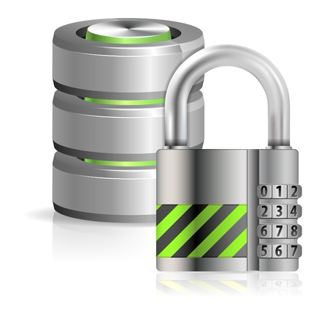 Security Concept - Padlock Protects Database and Hard Disk Icon, isolated on white