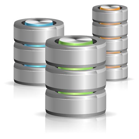 Set Database and Hard Disk Icon, isolated on white