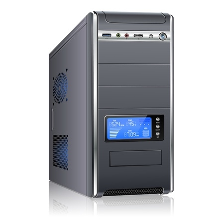 Realistic 3D Computer Case with LCD Display, isolated on white background, vector illustration