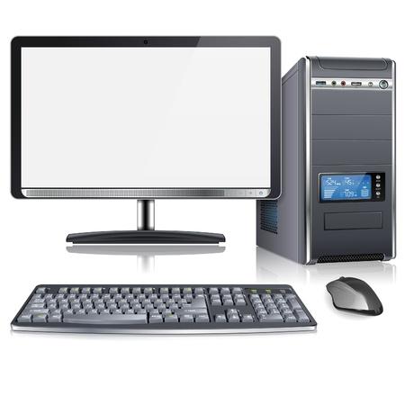 Realistyczne 3D Obudowa komputerowa z monitora, klawiatury i myszy, na białym tle, ilustracji wektorowych