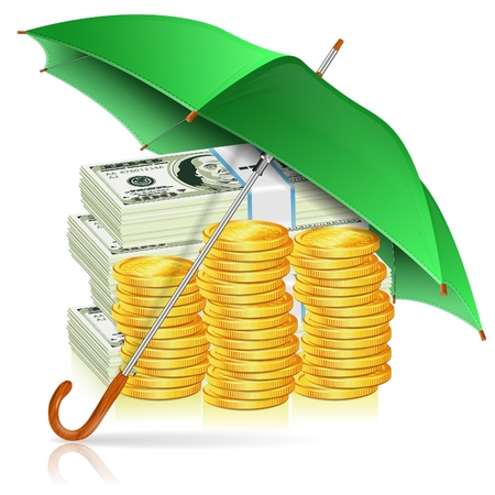 Monetary Stability, Success in Business and Protect against Inflation Concept. Umbrella protects Money, isolated vector