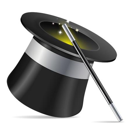 Sombrero de mago con varita del mago, icono aislado sobre fondo blanco ilustración,