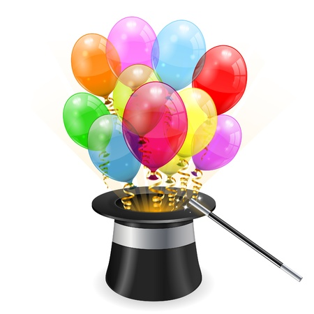 Magician Hat with 3D Transparent Birthday Balloons and Streamer, easy change color, icon isolated on white background, illustration