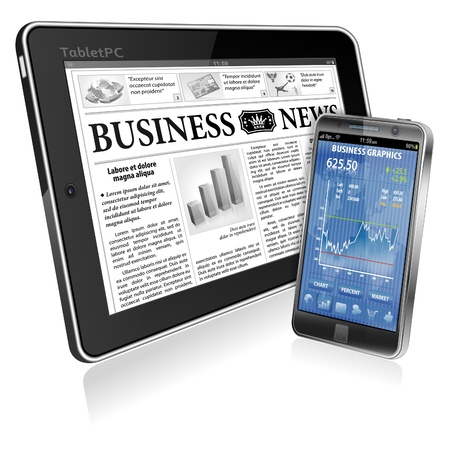 Financial Concept with Business Newspaper on screen Tablet PC and Smartphone with Stock Market Application, vector isolated on white background