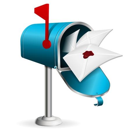 Offene Mailbox mit E-Mail-, Vektor-Symbol auf weißem Hintergrund