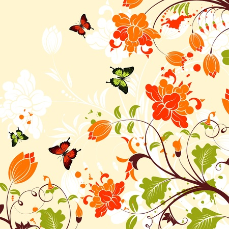 Flower Frame with Butterfly and Blots, background Stock Vector - 18421725