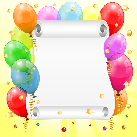 Verjaardag Frame met 3D Transparante Ballons van de Verjaardag, Scroll papier, Confetti en Streamer,
