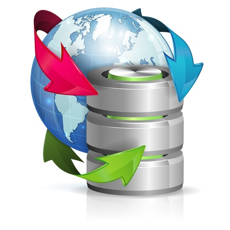 Backup Concept with Database Icon and Earth, isolated on white background Illustration