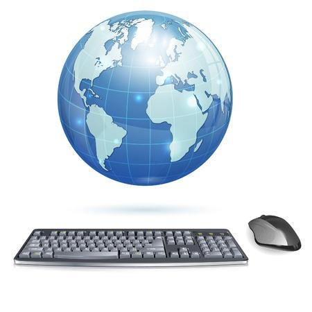 Computer Concept - Realistische 3D-toetsenbord en muis met de aarde, geïsoleerd op witte achtergrond, illustratie