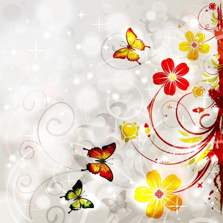 Bright Floral Frame with Butterfly on Glowing Background, element for design, vector illustration