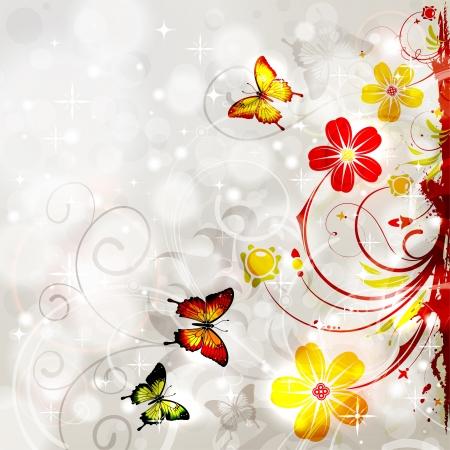 Heldere Bloemen frame met vlinder op gloeiende achtergrond, element voor ontwerp, vector illustration