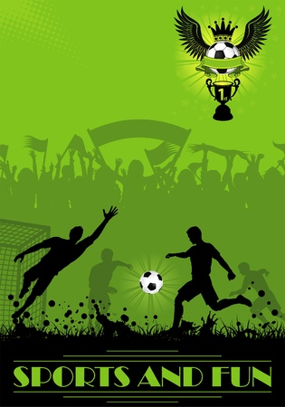 Soccer Poster with Players and Fans on grunge background, element for design, vector illustration Иллюстрация
