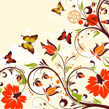Flower Frame with Butterfly and Blots,  background Stock Vector - 18787100