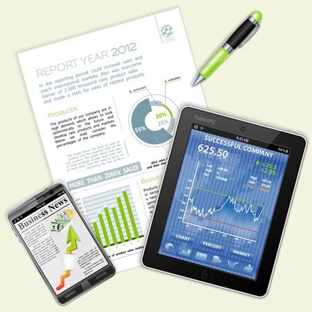 Zakelijk en Corporate Werk Concept met Tablet PC, Rapport, Pen en Coffee Cup
