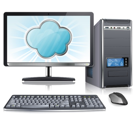 Cloud Computing Concept - Cloud on Screen Computer Monitor, vector icon isolated on white background