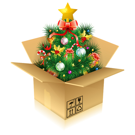 Christmas Tree with Candy, Fir Branches, Mistletoe, Gift in Cardboard Box, icon isolated on white, vector illustration
