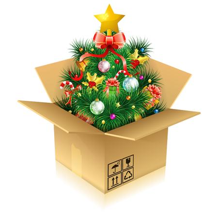 Rbol de Navidad con caramelo, ramas de abeto, muérdago, regalo en caja de cartón, icono aislado en blanco, ilustración vectorial Foto de archivo - 23103578