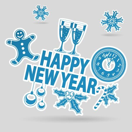 New Year Sticker with Clock, Glass, Candy and Snowflakes Stock Vector - 23659973